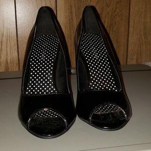 Black peep toe heels